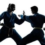 man woman karate fight